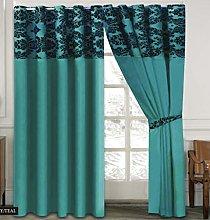 Skippys Luxury Damask Curtains Teal Black 90x90