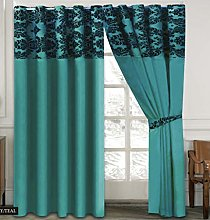 Skippys Luxury Damask Curtains Teal Black 90x90