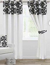 Skippys Luxury Damask Curtains White Black 90x90