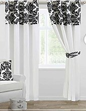 Skippys Luxury Damask Curtains White Black 90x90