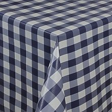 Skippys Navy White Oilcloth Wipe Clean Tablecloth