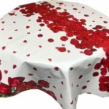 Skippys Oilcloth Red Rose Tablecloth Wipe Clean