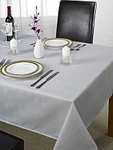 Skippys Plain Grey Tablecloth Checked Silver