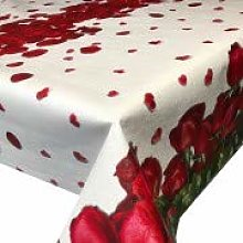 Skippys Red Rose Tablecloth PVC Vinyl Oilcloth
