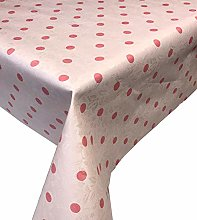 Skippys Spots Oilcloth Pink Wipe Clean Tablecloth