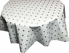 Skippys Spots Oilcloth White Grey Polka Dot