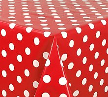 Skippys Spots Red Oilcloth Wipe Clean Tablecloth