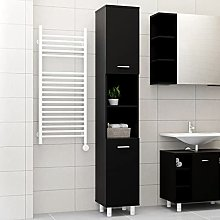 SKM Bathroom Cabinet Black 30x30x179 cm Chipboard