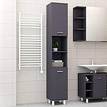 SKM Bathroom Cabinet Grey 30x30x179 cm Chipboard