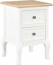 SKM Bedside Cabinet White 35x30x49 cm MDF