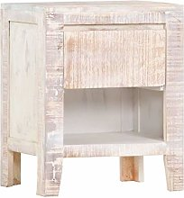 SKM Bedside Cabinet White 40x30x50 cm Solid Acacia