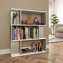 SKM Book Cabinet/Room Divider White and Sonoma Oak