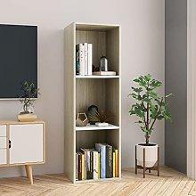 SKM Book Cabinet/TV Cabinet White and Sonoma Oak