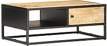 SKM Coffee Table with Carved Door 90x55x36 cm