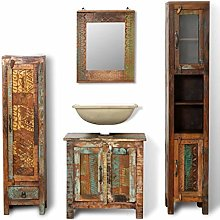 SKM Reclaimed Solid Wood Vanity Cabinet Set with