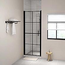 SKM Shower Door Tempered Glass 91x195 cm Black