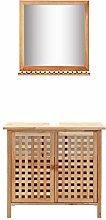 SKM Sink Cabinet with Mirror Solid Walnut Wood