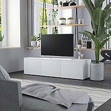 SKM TV Cabinet White 120x34x30 cm Chipboard
