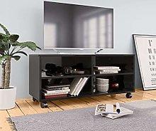 SKM TV Cabinet with Castors High Gloss Black