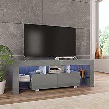 SKM TV Cabinet with LED Lights High Gloss Grey