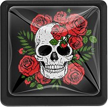Skull and Red Roses Square Cabinet Knobs Cabinets