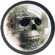 Skull Art 4 Pieces Crystal Glass Wardrobe Handles