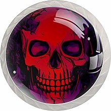 Skull Bone Red 4 Pieces Crystal Glass Wardrobe