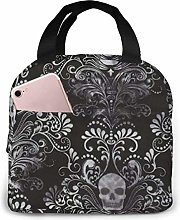 Skull Damask Lunch Bag Reusable Lunch Tote Travel