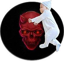 Skull Devil, Printed Round Rug for Kids Family