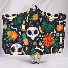 Skull Flowers Blanket Cuddly Blanket Hooded