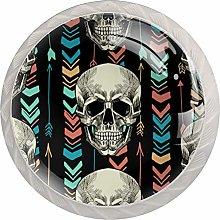 Skull Geometric 4 Pack Glass Drawer Knobs- Round