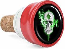 Skull Green Weed Smoke Wine Cork Wine Bottle