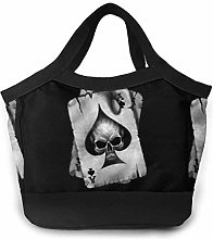 Skull Head On Playing Cards Black Lunch Bag Tote