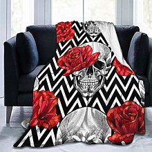 Skull Head with Red Rose Ultra-Soft Fleece Blanket