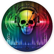 Skull Headphone Green Red Melody 3D Wall Clock