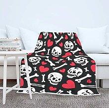 Skull Heart Blanket Soft Warm Sofa Blanket Plush