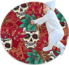 Skull Hearts and Flowers, Kids Round Rug Polyester
