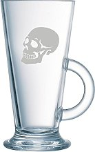 Skull Latte Coffee Glass. Matching wine glasses,