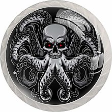Skull Octopu Round Cabinet Knobs 4pcs Knobs for