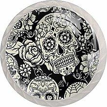 Skull Pattern White Crystal Drawer Handles