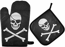 Skull Pirate Oven Mitts Pot Holders Sets Navy Oven