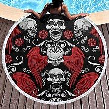 Skull Printed Round Beach Towel Yoga Picnic Mat