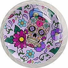 Skull Purple Flower 4 Pieces Crystal Glass