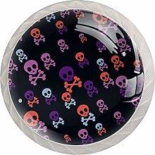 Skull Purple Pink 4 Pieces Crystal Glass Wardrobe
