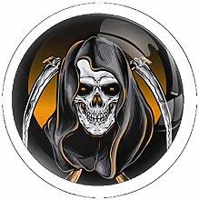 Skull Reaper 4 Pack Round Drawer Knobs Crystal