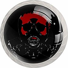Skull Red 4 Pieces Crystal Glass Wardrobe Handles