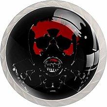 Skull Red White Crystal Drawer Handles Furniture