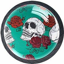 Skull Rose Crystal Drawer Handles Furniture Glass