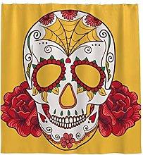 Skull Rose Flower Shower Curtain Anti-Mould