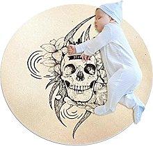 Skull, Round Area Rug Pattern Round Children Area